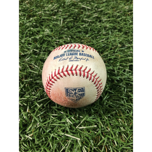 20th Anniversary Game Used Baseball: Tyler Glasnow strikes out Salvador Perez and ball in dirt to Luca Duda - August 23, 2018 v KC