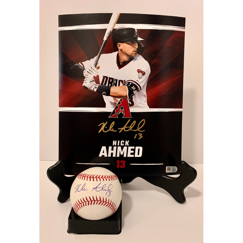 Photo of Nick Ahmed Autographed 8x10 and Ball