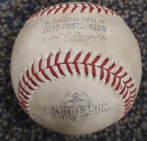 Photo of Authenticated Game Used Postseason Baseball - Foul by Alex Gordon against Liam Hendriks (ALCS Game 4: Oct 20, 15 vs KCR). Top 4.