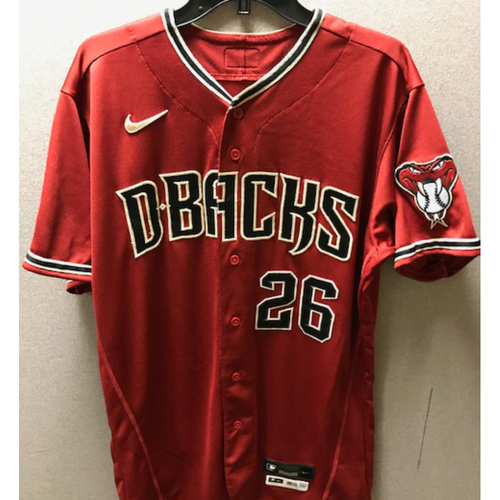 Photo of Arizona Diamondbacks 2017 First Round Draft Selection Pavin Smith: 2020 Game-Used Red Alternate Jersey (9/27/20 vs. Rockies, Smith entered as a reserve and played left field)