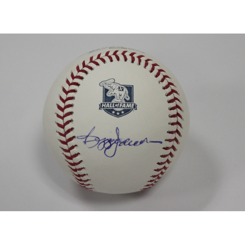 Photo of Reggie Jackson Autographed A's Hall of Fame Baseball