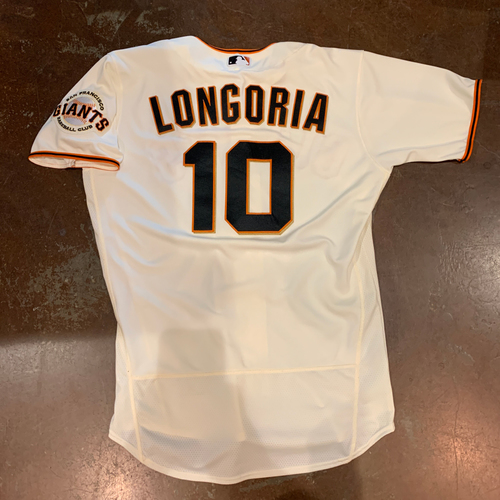 Photo of 2021 Game Used Home Cream Jersey worn by #10 Evan Longoria on 4/9 vs. COL - Home Opening Day, 4/10 vs. COL - 1-4, 4/11 vs, COL - 2-4. 2 RBI & 4/12 vs. CIN - Size 44
