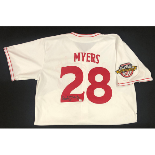 Photo of Randy Myers - AUTOGRAPHED Game Used Jersey: Reds Hall of Fame Legends Game