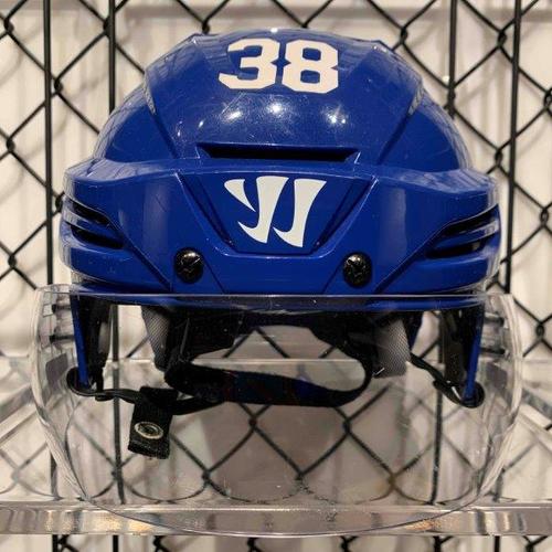 #38 Rasmus Sandin Worn Blue Warrior Helmet