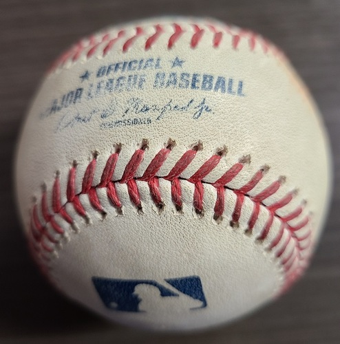 Photo of Authenticated Game Used Baseball: Strikeout by Ryan Borucki against Xander Bogaerts (Aug 6, 2021 vs BOS). Top 6.