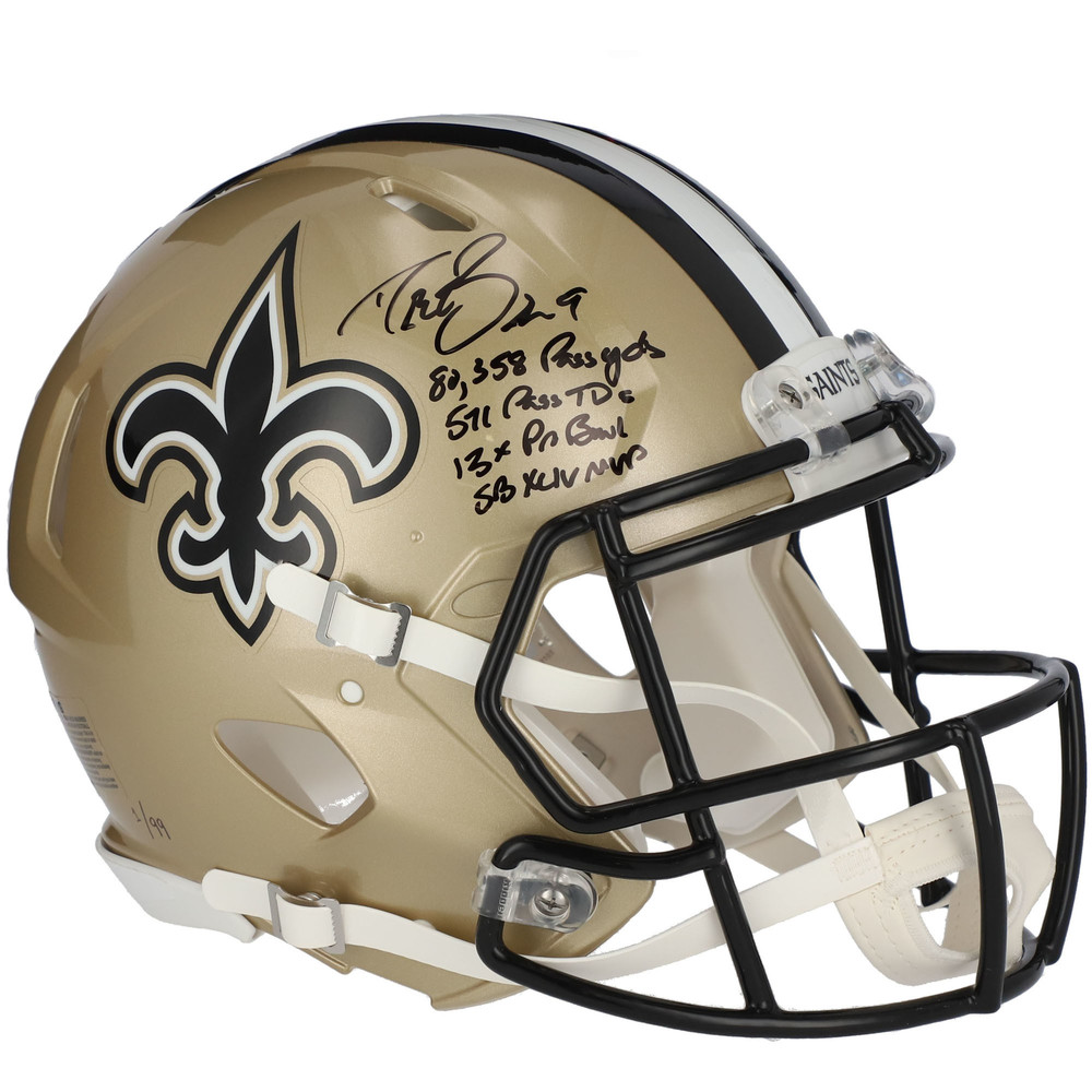 Drew Brees New Orleans Saints Autographed & Inscribed Authentic Speed Helmet - Limited Edition #1/99