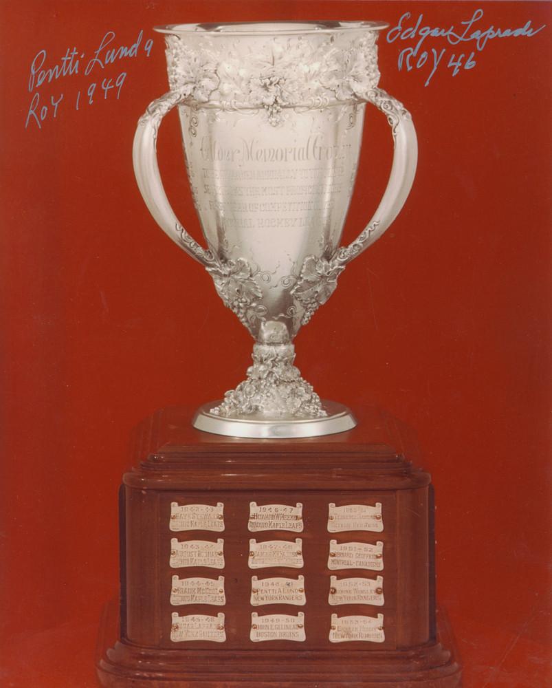 Calder Memorial Trophy 8x10 Photo Autographed by New York Rangers PENTTI LUND & EDGAR LAPRADE