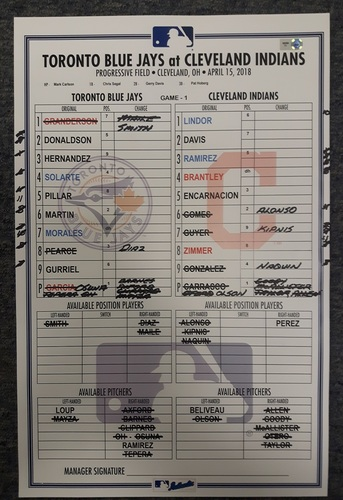 Photo of Authenticated Game Used Lineup Card - May 3, 2018 vs Cleveland (Game 1): Yangervis Solarte had the Go-Ahead Grand Slam. Date on Lineup Card is April 15, 2018 as this was a makeup for rainout on Jackie Robinson Day