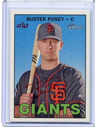 Photo of 2016 Topps Heritage Real One Autographs Red Ink Buster Posey 25/67