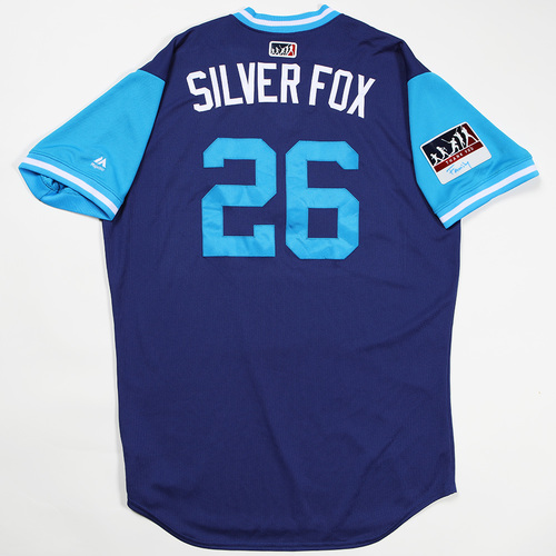 "Photo of Chase ""Silver Fox"" Utley Los Angeles Dodgers Team-Issued 2018 Players' Weekend Jersey"