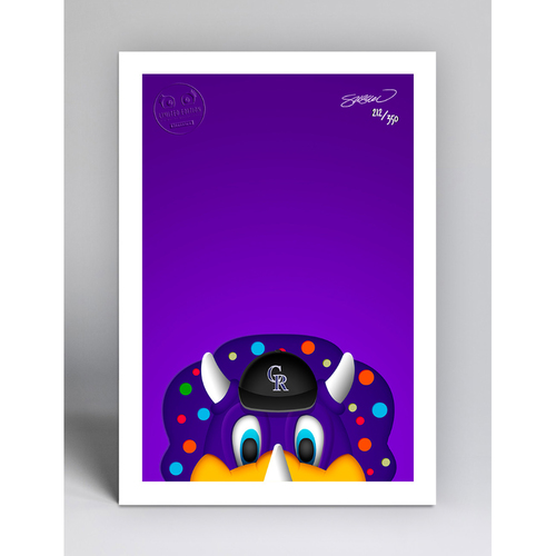 Photo of Dinger - Limited Edition Minimalist Mascot Art Print by S. Preston  - Colorado Rockies