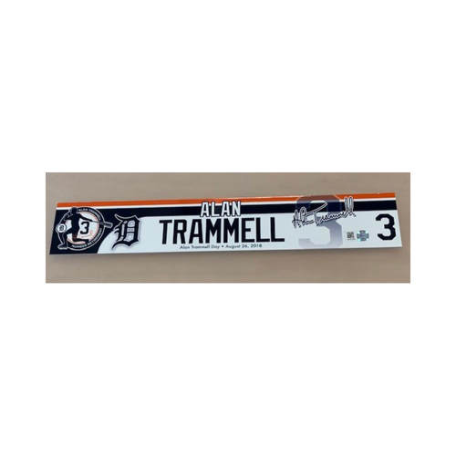 Photo of Team-Issued Alan Trammell Number Retirement Day Locker Name Plate