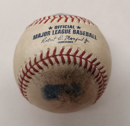 Photo of Authenticated Game Used Baseball - Brian McCann Double against Marcus Stroman (September 23, 2015 vs NYY). Top 2.