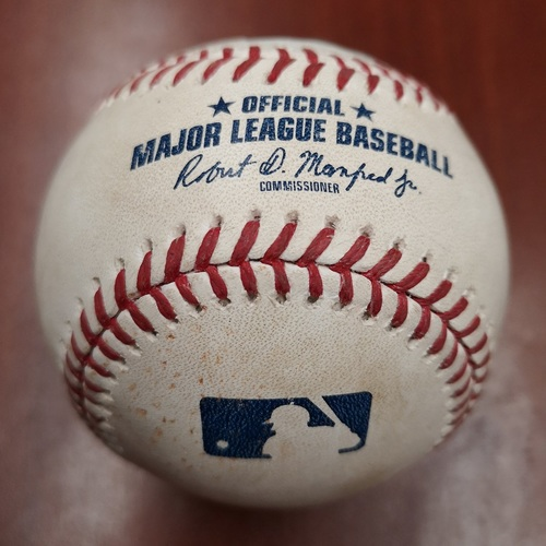 Photo of Authenticated Game Used Baseball - Single by Freddy Galvis against Martin Perez (May 6, 2019 vs MIN). Bottom 4.