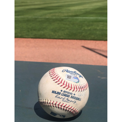 Photo of Ronald Acuna Jr. Game Used Hit Single Baseball - 4/27/2019