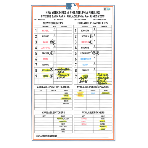 Photo of Game Used Lineup Card - Conforto 3-4, HR (16), BB, 2 RBI's and 2 Runs Scored; Dominic Smith HR (5); Mets Win 13-7 - Mets vs. Phillies - 6/24/2019