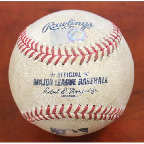 Photo of Game-Used Baseball: Lou Trivino / Ryan Braun 2B, Yasmani Grandal Strikeout & Keston Hiura Ball In Dirt (MIL)
