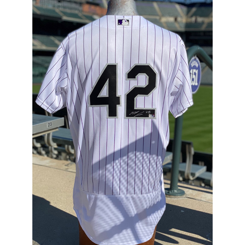 Photo of Colorado Rockies Foundation: Game-Used and Autographed Jackie Robinson Day Jersey - Nolan Arenado - Padres at Rockies - August 29, 2020 and August 30, 2020