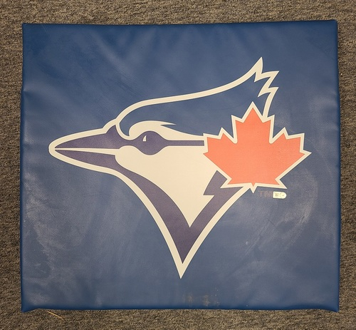 "Photo of Authenticated Team Issued 2020 Blue Jays Seat Cushion (20"" Length, 18.5"" Width, 3 Inch Height)."