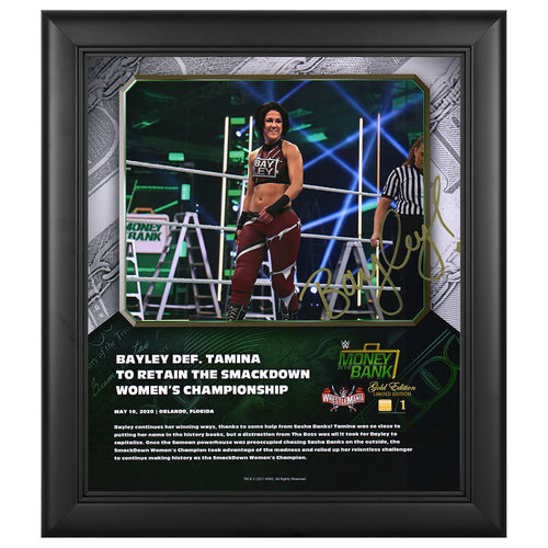 Bayley SIGNED Money In The Bank 2020 WrestleMania Gold Edition Plaque (#1 of 1)