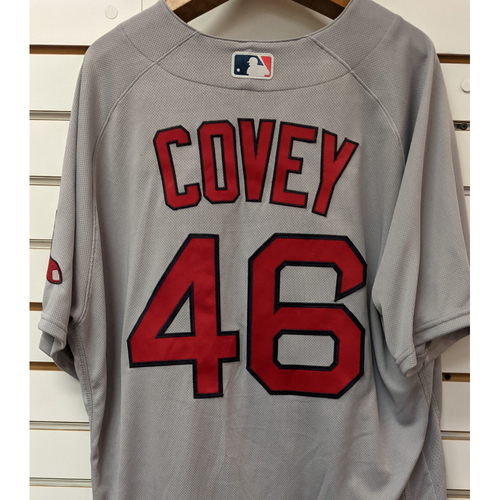 Photo of Dylan Covey #46 Team Issued Nike Road Gray Jersey