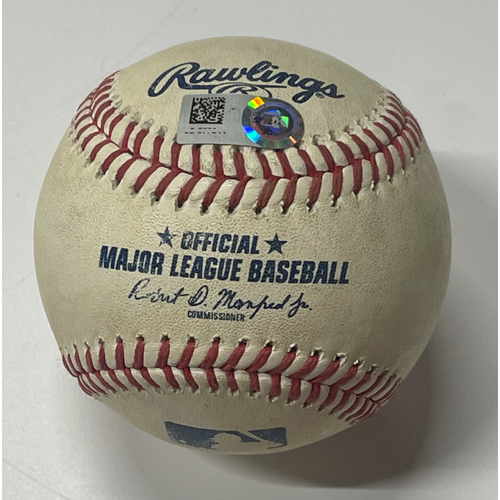Photo of Game Used Baseball - Francisco Lindor Home Run off Jorge Alcala - 8/25/2020- Twins at Indians