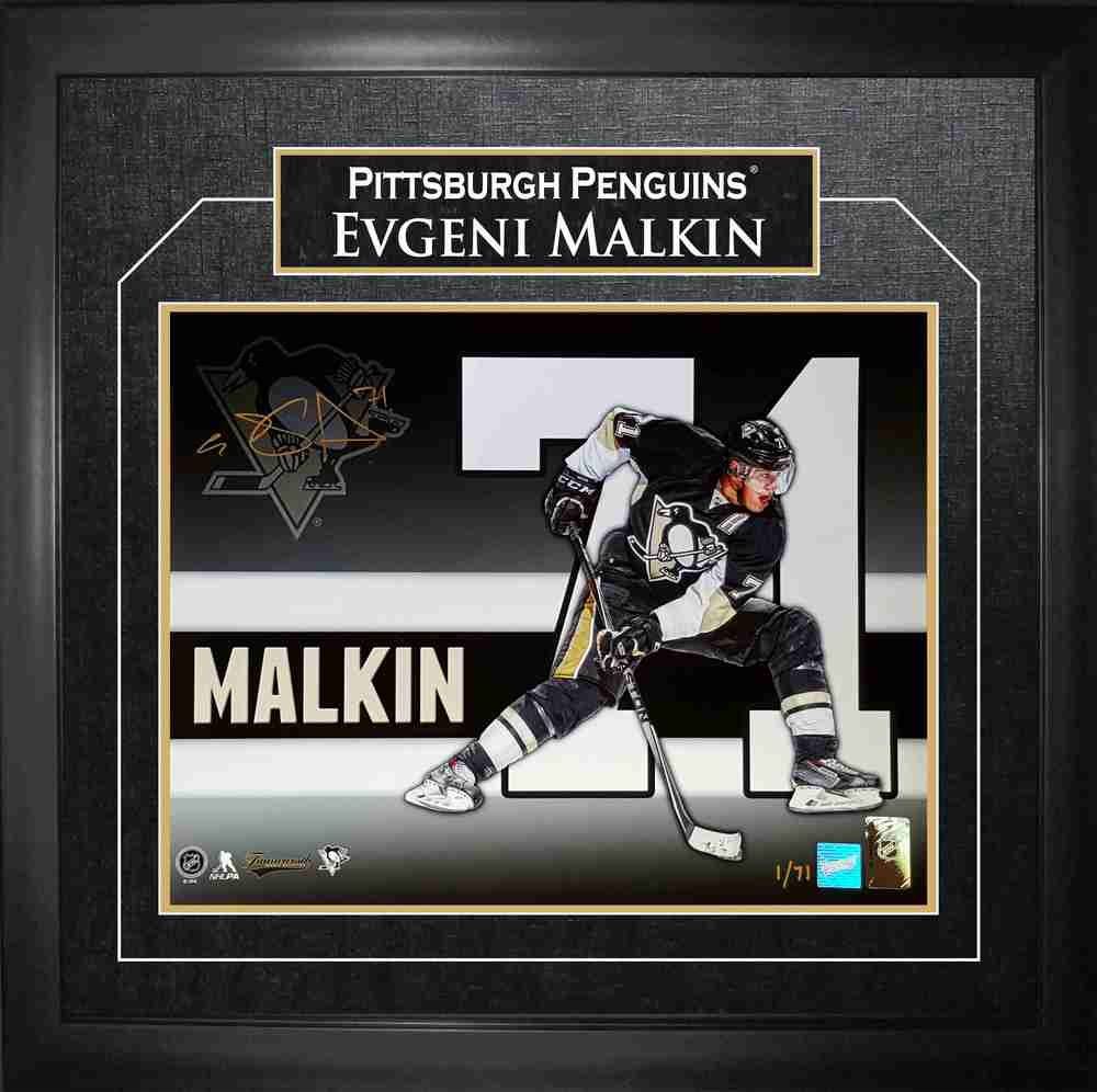 Evgeni Malkin -  Signed 11x14 Framed Number Collage Limied Edition /71