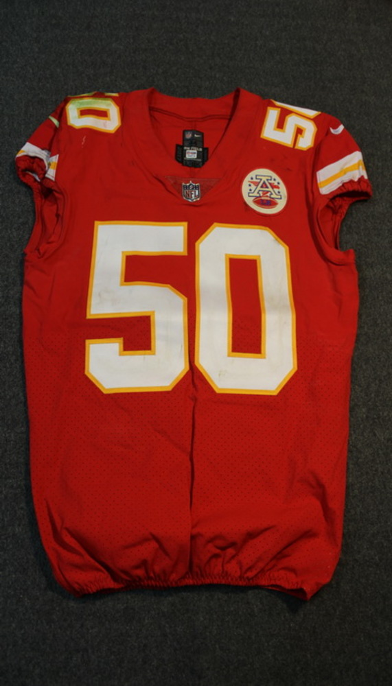CRUCIAL CATCH - CHIEFS JUSTIN HOUSTON SIGNED AND GAME WORN CHIEFS JERSEY (OCTOBER 15, 2017) SIZE 44