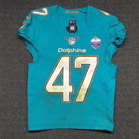 SPORT RELIEF - DOLPHINS KIKO ALONSO GAME WORN DOLPHINS JERSEY W/ LONDON GAMES PATCH (OCTOBER 1, 2017) SIZE 38