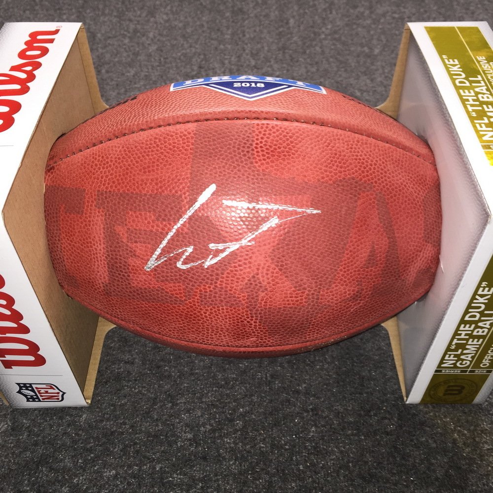 NFL - Ravens Lamar Jackson signed authentic football w/ 2018 Draft and Texas Ghost Logo