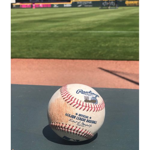 Ozzie Albies Game Used Hit Single Baseball - 4/14/2019
