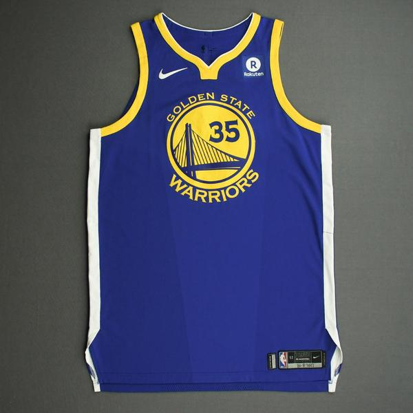 Image of Kevin Durant - Golden State Warriors - NBA China Games - Game-Worn Icon Edition Jersey - Scored 22 Points - 2017-18 NBA Season