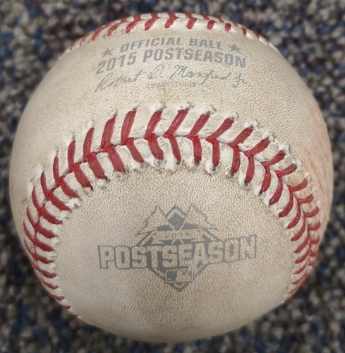 Photo of Authenticated Game Used Postseason Baseball - Pitch in the Dirt by Liam Hendriks against Alex Rios (ALCS Game 4: Oct 20, 15 vs KCR). Top 4.