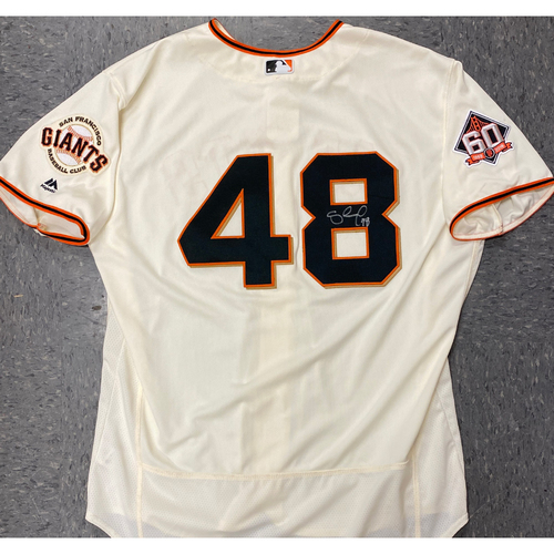 Photo of 2020 Black Friday Sale - #48 Pablo Sandoval Team Issued Autographed 2018 Home Cream Jersey - Size 52