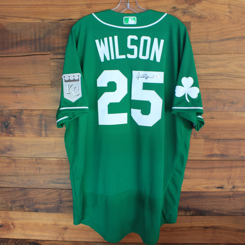 Photo of Team-Issued 2020 St. Patrick's Day Jersey: Willie Wilson #6 - Size 48