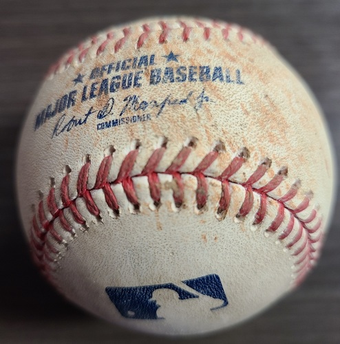 Photo of Authenticated Game Used Baseball: Single by J.D. Martinez against Rafael Dolis (Aug 6, 2021 vs BOS). Top 7.