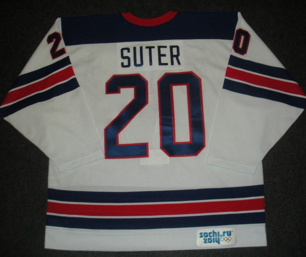Ryan Suter - Sochi 2014 - Winter Olympic Games - Team USA Throwback Game-Worn Jersey - Worn in Warmups and 1st Period vs. Slovenia, 2/16/14