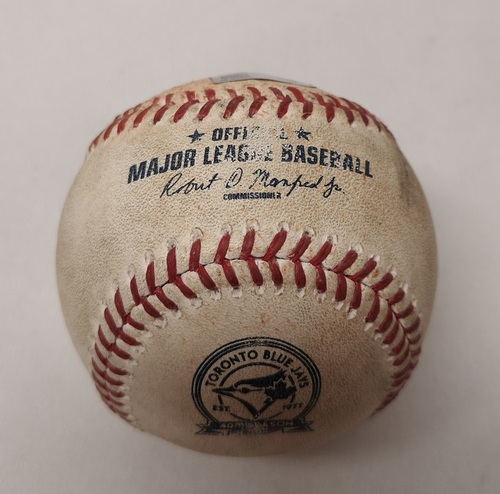 Photo of Authenticated Game Used Baseball - Michael Saunders RBI Double against Ivan Nova (May 30, 2016 vs NYY). Bottom 3.