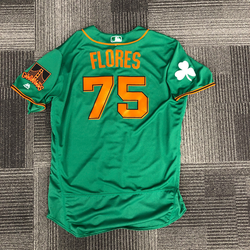 Photo of 2018 Spring Training St. Patrick's Day Jersey - worn by #75 Jose Flores - Team Issued - size 50