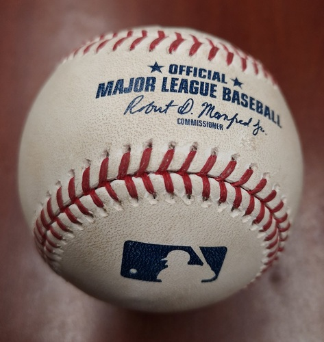 Photo of Authenticated Game Used Baseball - Single by Rowdy Tellez against Martin Perez (May 6, 2019 vs MIN). Bottom 5.