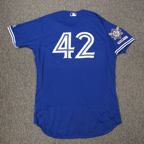Photo of Charity Auction - Authenticated Game Used #42 Jersey - Tim Mayza (April 15, 19: 0.1 IP, 0 ER, 1 K). Size 48