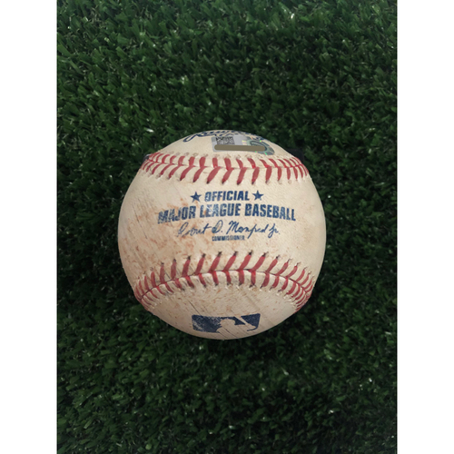 Photo of Ronald Acuna Jr. Game Used Hit Double Baseball - June 14, 2019
