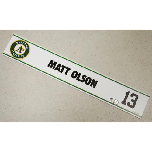 Photo of Matt Olson Spring Training Locker Nameplate