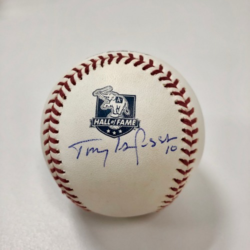 Photo of Tony LaRussa Autographed A's Hall of Fame Baseball