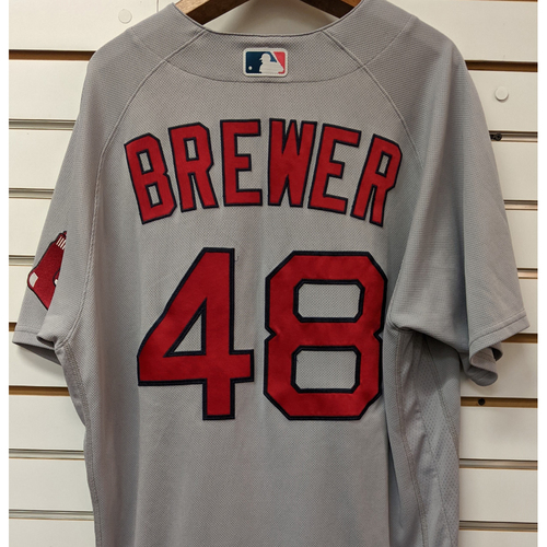 Photo of Colten Brewer #48 Team Issued Nike Gray Road Jersey