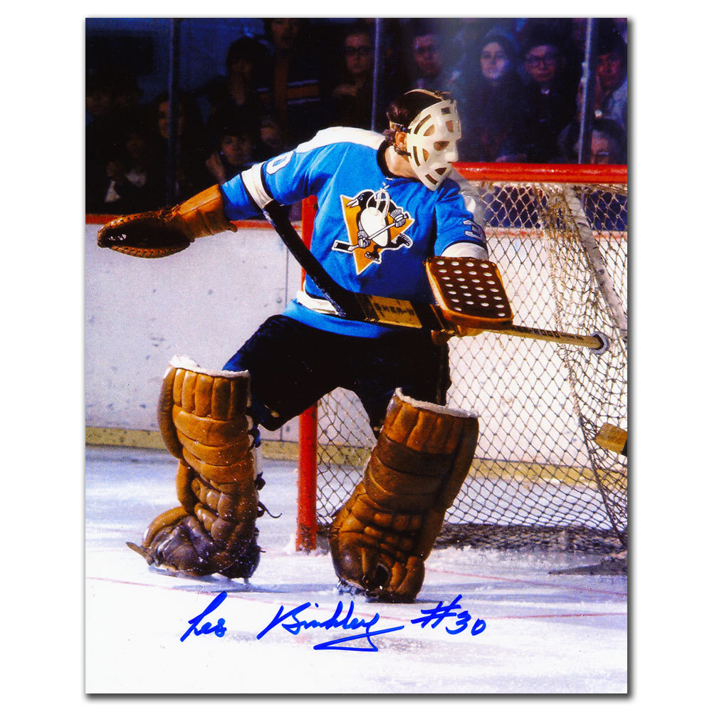 Les Binkley Pittsburgh Penguins BIG SAVE Autographed 8x10
