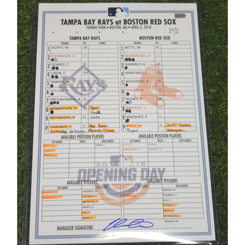Photo of 2018 Game Used Line Up Card - Tampa Bay Rays at Boston Red Sox - April 5, 2018