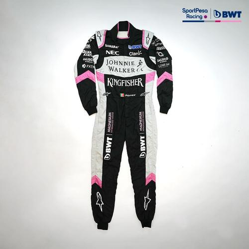 Photo of Sergio Perez 2017 Pink/Black Race-worn Race Suit - Sahara Force India F1 Team