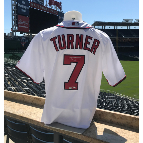 Photo of Trea Turner Autographed 2019 World Series Champions Replica Jersey