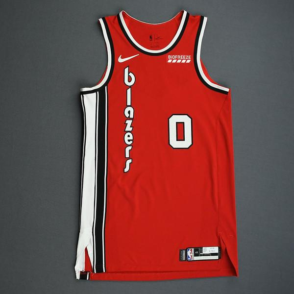 Image of Damian Lillard - Portland Trail Blazers - Game-Worn Classic Edition 1975-77 Road Jersey - Scored Game-High 33 Points - 2019-20 NBA Season